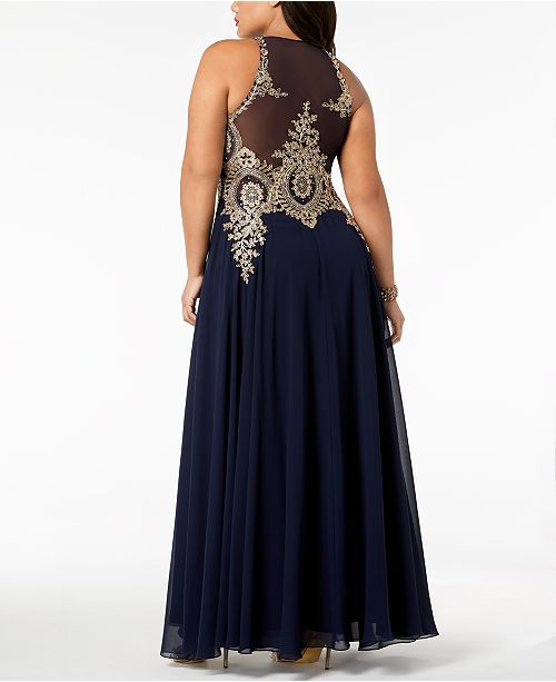 dfea79338da XSCAPE Plus Size Embroidered Gown   Reviews - Dresses - Women - Macy s