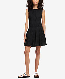 DKNY Sleeveless Cotton Eyelet Fit & Flare Dress