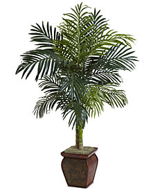 Nearly Natural 4.5' Golden Cane Palm Tree with Decorative Planter