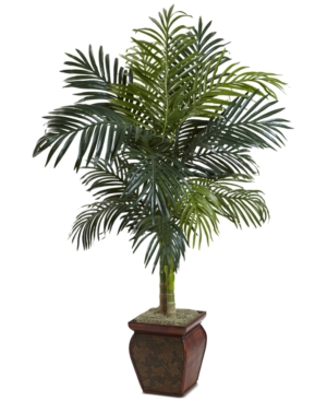 Nearly Natural 45 Golden Cane Palm Tree with Decorative Planter