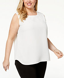 Anne Klein Plus Size U-Neck Shell