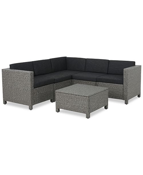 Noble House Chelsea 6-Pc. Outdoor Sectional Sofa Set, Quick Ship ...