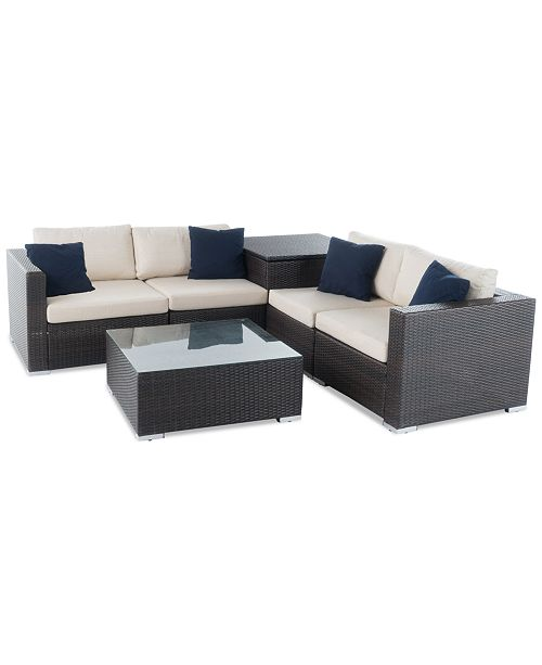Noble House Cambridge Outdoor 6-Pc. Sofa Set, Quick Ship