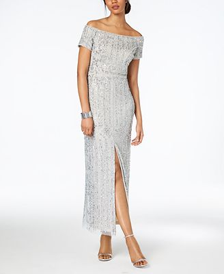 Adrianna Papell Off The Shoulder Beaded Gown Regular Petite Sizes