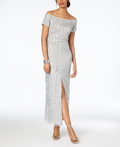 Adrianna Papell Off-The-Shoulder Beaded Gown, Regular & Petite Sizes ...