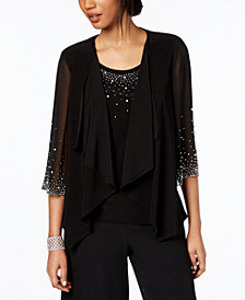 MSK Embellished Chiffon Jacket & Shell