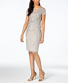 Adrianna Papell Embellished Illusion Dress, Regular & Petite Sizes