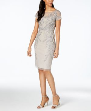 EMBELLISHED ILLUSION DRESS, REGULAR & PETITE SIZES
