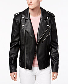 GUESS Men's Faux Leather Moto Jacket