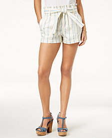 Tinseltown Juniors' Paperbag-Waist Striped Shorts
