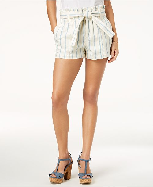 f6b726e21a8d Tinseltown Juniors' Paperbag-Waist Striped Shorts & Reviews - Shorts ...