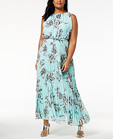 Jessica Howard Plus Size Pleated Maxi Dress
