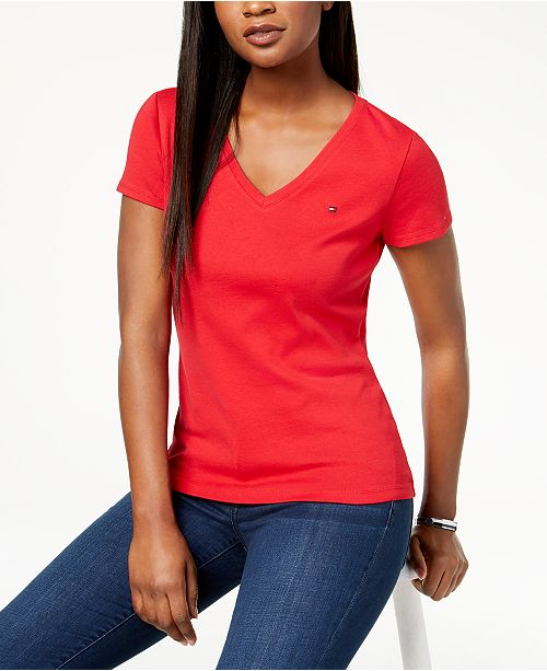 2c3fa7560205 Tommy Hilfiger V-Neck T-Shirt, Created for Macy's & Reviews - Tops ...