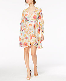 Calvin Klein Petite Faux-Wrap Floral-Print Dress