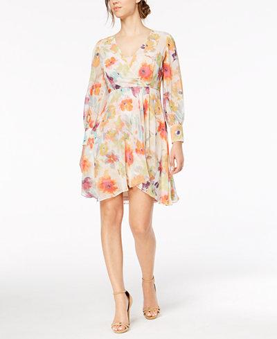 Calvin Klein Faux-Wrap Floral-Print Dress, Regular & Petite Sizes