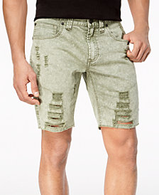 I.N.C. Men's Olive Shredded Shorts, Created for Macy's