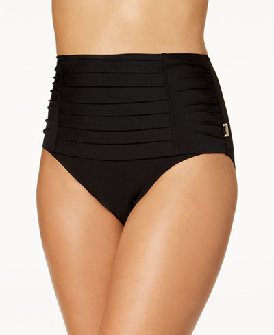 Calvin Klein Pleated High-Waist Bikini Bottoms