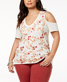 Lucky Brand Trendy Plus Size Cotton Embroidered Cold-Shoulder Top
