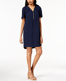 Trina Turk Zipper-Trim Shirtdress