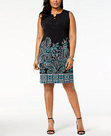 JM Collection Plus Size Lace-Up Dress, Created for Macy's