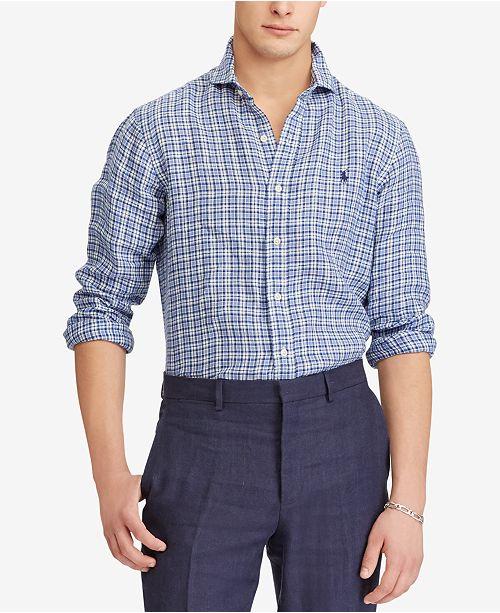 a879a5579c7e Polo Ralph Lauren Men s Classic Fit Plaid Linen Shirt   Reviews ...