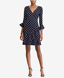 Lauren Ralph Lauren Polka-Dot Crepe Dress, Regular & Petite Sizes