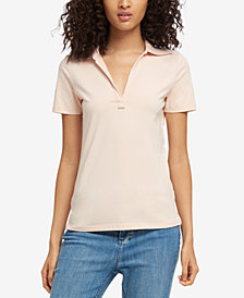 DKNY Short-Sleeve Ribbed-Collar Polo, Created for Macy's