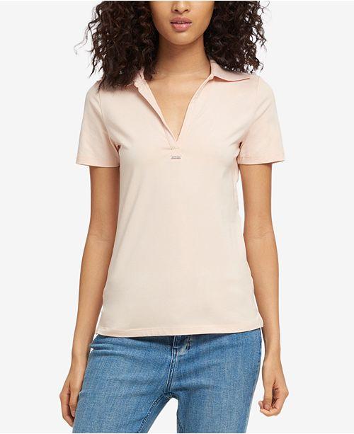 DKNY Short-Sleeve Ribbed-Collar Polo, Created for Macy's