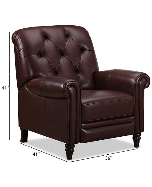 Martha Stewart Collection Bradyn Leather Pushback Recliner