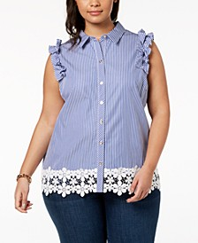Plus Size Cotton Striped Lace-Trim Shirt, Created for Macy's