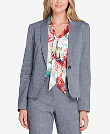 Tahari ASL One-Button Chambray Blazer