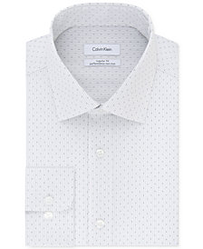 Calvin Klein Men's STEEL Classic/Regular Fit Non-Iron Stretch  Performance Gray Check Dress Shirt