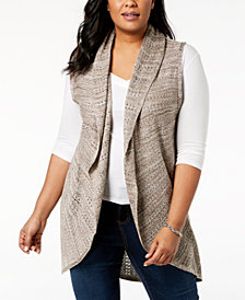 Love Scarlett Plus Size Shawl-Collar Knit Vest