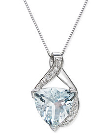 "Aquamarine (2-9/10 ct. t.w.) & Diamond Accent 18"" Pendant Necklace in 14k White Gold"