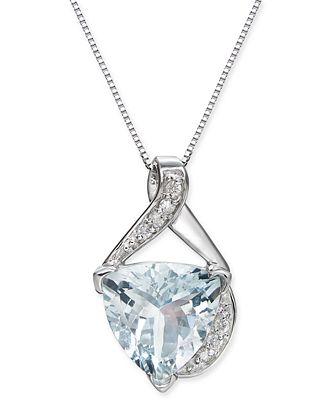 Fine Jewelry Womens Diamond Accent Blue Aquamarine 14K Gold Pendant Necklace