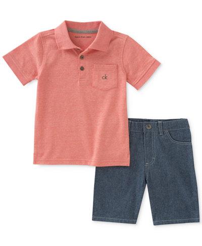 Calvin Klein 2-Pc. Polo & Denim Shorts Set, Baby Boys