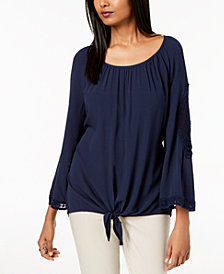 JM Collection Crochet-Inset Tie-Hem Top, Created for Macy's