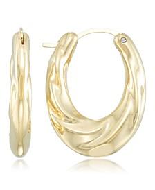 Diamond Accent Draped Oval Hoop Earrings in 14k Gold over Resin