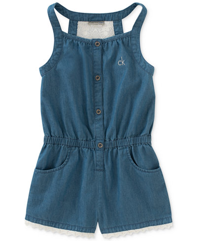 Calvin Klein Chambray & Lace Cotton Romper, Baby Girls