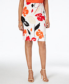 Kasper Printed Pencil Skirt, Regular & Petite