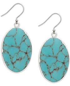 Lucky Brand Silver-Tone Colored Stone Drop Earrings