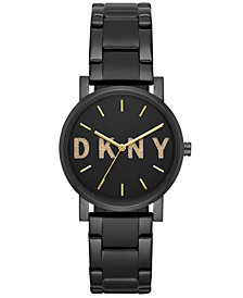 DKNY Women's SoHo Black Stainless-Steel Bracelet Watch 34mm, Created for Macy's