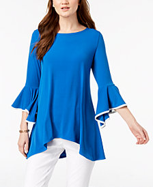 Alfani Bell-Sleeve Handkerchief-Hem Top, Created for Macy's