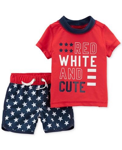 Carter's 2-Pc. Graphic-Print Rash Guard & Shorts Set, Baby Boys