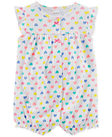Carter's Baby Girls Heart-Print Cotton Romper