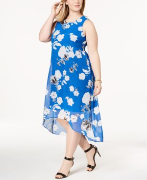 Image of Alfani Plus Size Printed High-Low Midi Dress, Created for Macy's