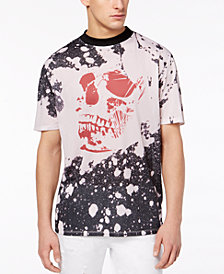 GUESS Men's Jordan OS Mesh Paint-Splatter Skull-Print T-Shirt