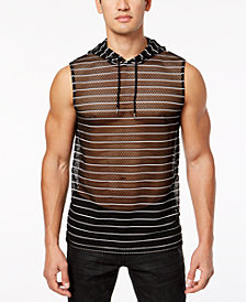 I.N.C. Men's Sheer Striped Hooded Tank, Created for Macy's