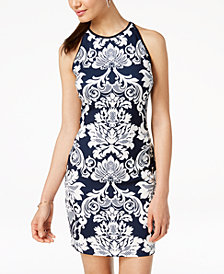 B Darlin Juniors' Printed Sleeveless Bodycon Dress