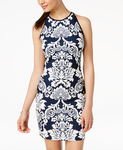 B Darlin Juniors' Printed Sleeveless Bodycon Dress